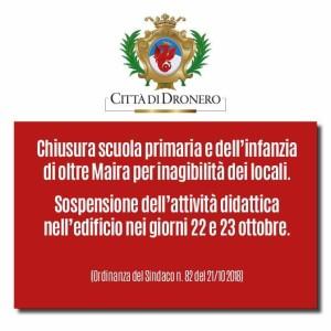 CHIUSURA SCUOLE OLTRE MAIRA